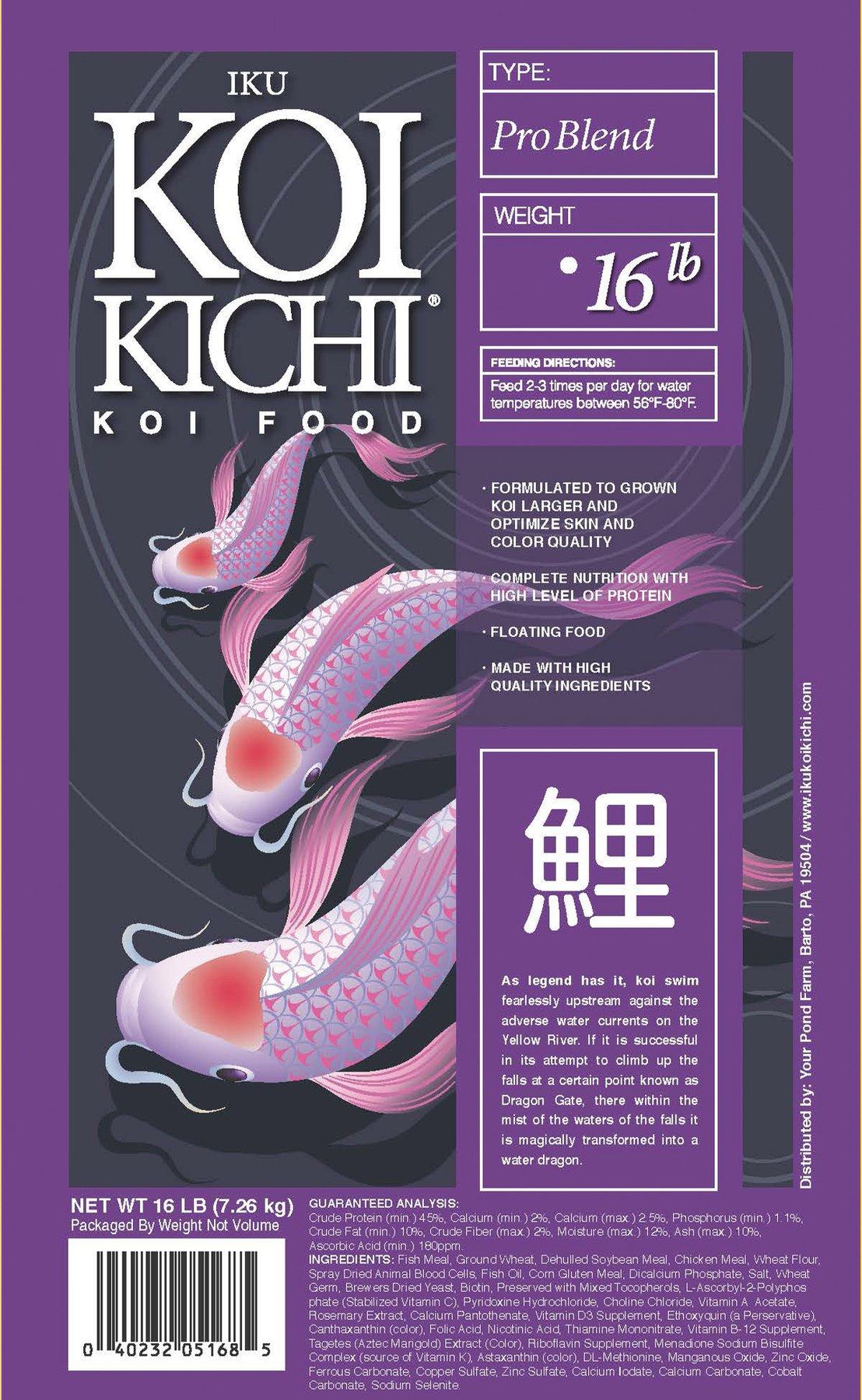 Iku Koi Kichi Pro Blend Koi Fish Food - 40 lbs.